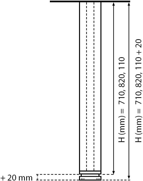 einstellbar H/öhe: 110 cm Tischbeine 100/% Aluminium 2 cm Vierkant h/öhenverstellbar Set: 4 St/ück Ausf/ührung: Aluminium eloxiert Sossai/® Exklusiv E4TBAL 1100 mm