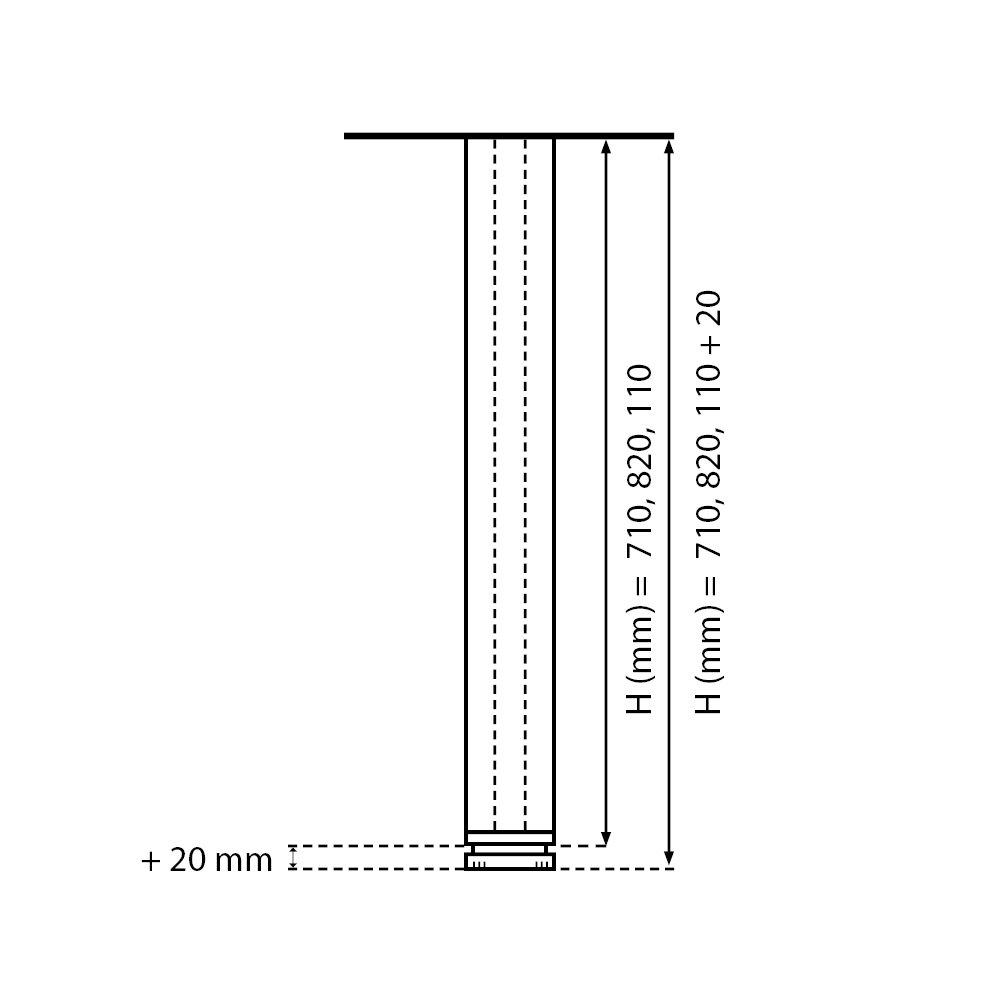 H/öhe: 110 cm 1100 mm 2 cm /… Ausf/ührung: Edelstahl geb/ürstet einstellbar Set: 4 St/ück Vierkant h/öhenverstellbar Sossai/® Exklusiv E4TBGS Tischbeine 100/% Aluminium