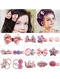 Hair Clips Hairpins Gift for Girls Baby - 18 pcs Cute Clips Hair Tie Claw Clip Bows Pink