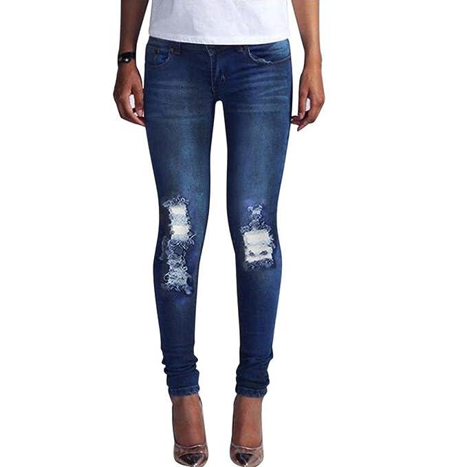 Huateng Pantalones Vaqueros Delgados de la Moda 89a49f176012
