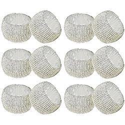 SKAVIJ Silver Napkin Rings Set of 12 Beaded Napkin Holder Round for Wedding Party Holiday Dinner