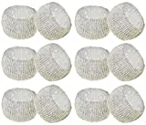 SKAVIJ Silver Napkin Rings Set of 12 Beaded Napkin Holder Round for Wedding Party Holiday Dinner