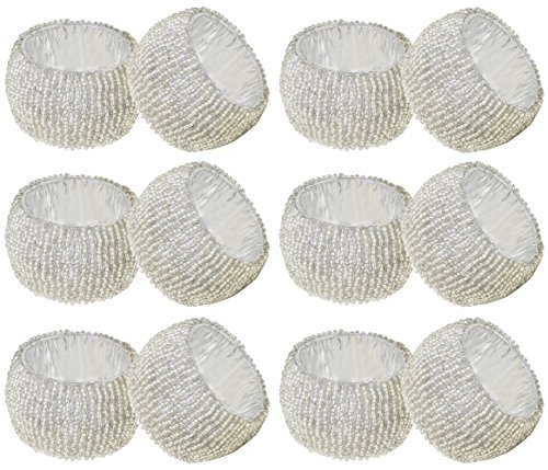 SKAVIJ Glass Beads Napkin Rings Set for Dining Table Decoration Handmade (Dia-2 Inch, Pack of 12, Silver)