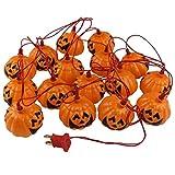 Dealglad 2.5m 16-leds Halloween 3D Jack-O-Lantern LED Flashing String Light Festival Party Decoration Lamp 220V (Pumpkin -Warm White)