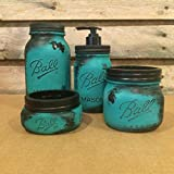 teal mason jar canisters - Rustic Turquoise and Black Mason Jar Desk Organizer or Bath Accessory Set