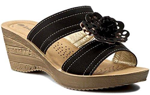 INBLU - Sandalias de vestir de piel sintética para mujer negro negro 35