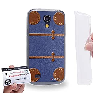Case88 [Samsung Galaxy S4 Mini] Gel TPU Carcasa/Funda & Tarjeta de garantía - Art Fashion Blue Luggage Art1871
