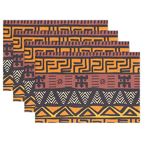 - Holisaky Decoration Placemats Set of 6 African Mud Cloth Tribal Design Placemat Dining Table Heat Resistant Non-Slip Kitchen Table Mats Easy to Clean