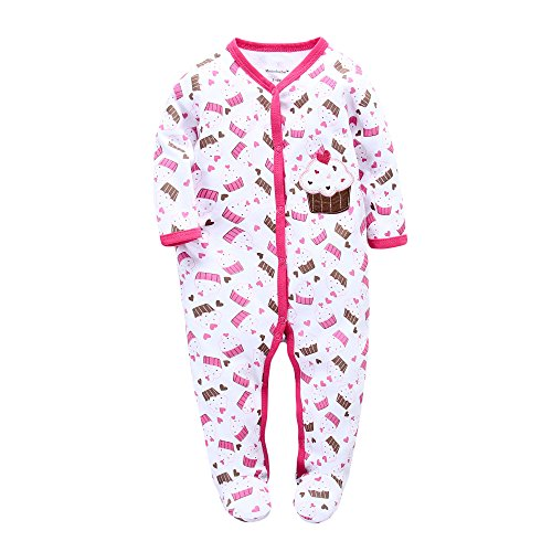 (BUAAM Baby's 100% Cotton Coverall Jumpsuit Winter Sleep n Play Footie 3-6 Months)