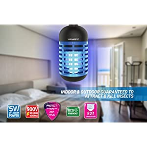 Insect Bug Zapper Bulb By LumaPest | UV Lamp Mosquito Trap | Indoor & Outdoor Insect Killer Lantern | Non-Toxic, Eco-Friendly Zapper | Effective & Whisper-Quiet Killing Machine For Balcony & Patio