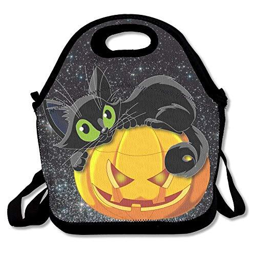 (HOOAL Halloween Black Cat Lunch Bag Tote Handbag Lunchbox for School Work)