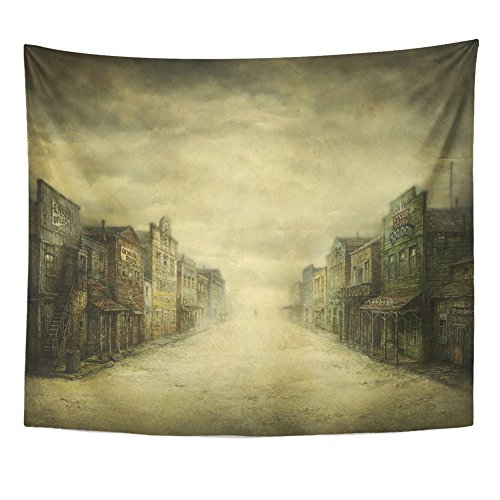 Emvency Tapestry Print 50x60 Inches Western Wild West Town Acrylic on Old Saloon Street Vintage City Movie Wall Wall Hangings Home Decor ()