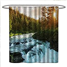 Anniutwo European Shower Curtains Fabric Extra Long River in Norway Sunrise Sunbeams Through Pine Trees Springtime Scenic Bathroom Set with Hooks W36 x L72 Baby Blue Apple Green