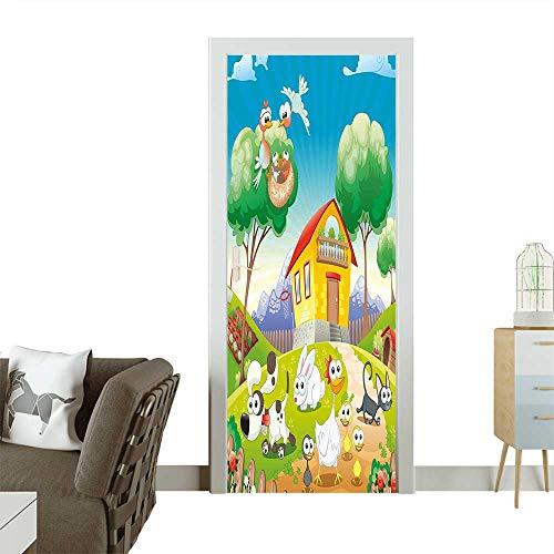 (Art Door Stickers Farm House Scenery with Full of Chicken Rabbit Dogs Cat Funny Cartoon Kids Door Decals for Home Room DecorationW23.6 x H78.7)