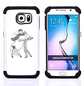For Samsung Galaxy S6 G9200 - DANCE CARICATURE MAN WOMAN BIG DRAWING ART Dual Layer caso de Shell HUELGA Impacto pata de cabra con im??genes gr??ficas Steam - Funny Shop -