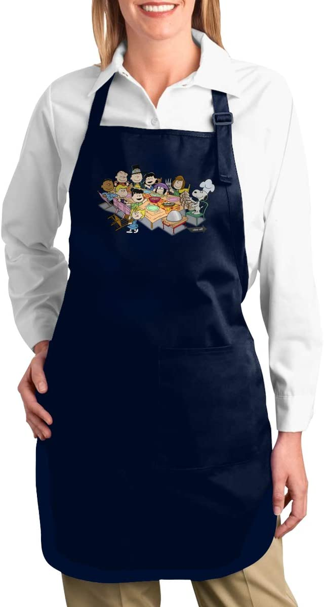 TDFJKxcv Snoopy Charlie Brown Thanksgiving Cooking Apron with 2 Tool Pockets Adjustable Kitchen Chef Bib for Men & Women