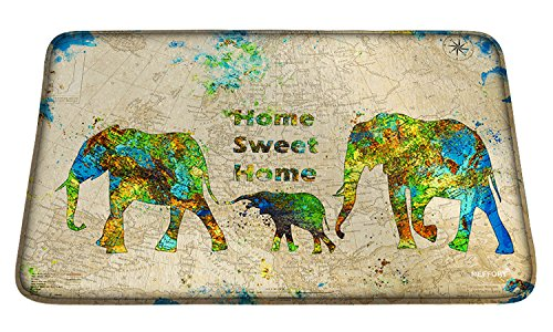 Meffort Inc Printed Soft Floor Door Mat Carpet/Area Entry Rugs for Kitchen Dining Living Hallway Bathroom - Family of Elephants