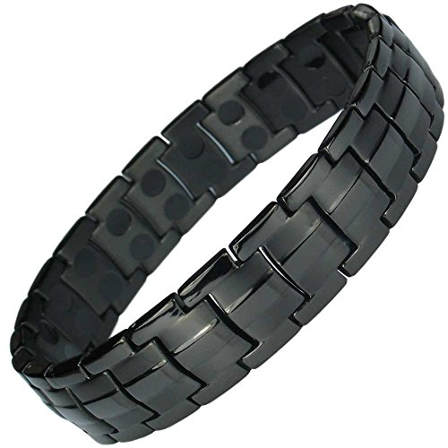 IonTopia Hermes Titanium Magnetic Therapy Bracelet Black XL with Free Links Removal Tool