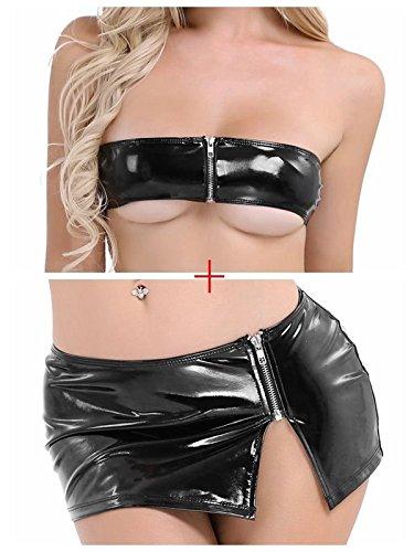 Mini Ensemble Lingerie Noir V Cuir 2Pcs Femme orn Jupe CHICTRY Verni Babydoll en Bandeau Sexy Ouverte Femme Wet Look et Bikini Erotique RvpnfBqw