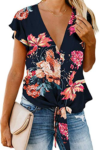 Women Floral Printed Tie Front V Neck Short Sleeve Tops Summer Button Down Shirts Loose Blouses (Deep Blue-46 XL)