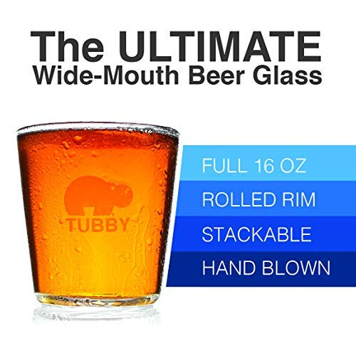 The Tubby - The Ultimate Beer Pint Glass 16 Ounce (Set of Four)