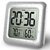 IDABAY Digital Bathroom Shower Clock Waterproof for Water Spray Indoor Temperature Humidity Monitor Function and Moisture Proof Large Screen Display Strong Suction Cups Table Stand Wall (Silver).