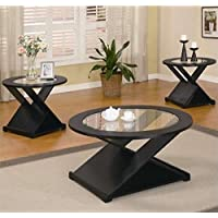 Bowery Hill 3 Piece Contemporary Occasional Round Table Set in Black