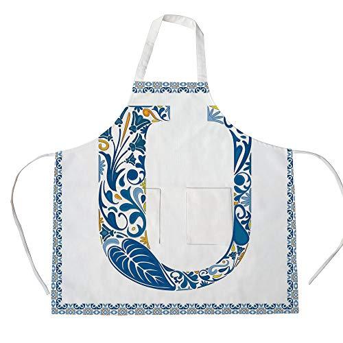 iPrint Cotton Linen Apron,Two Side Pocket,Letter U,Azulejo Motifs Floral Typography Retro Mosaic Tile Design Graphic Initial Decorative,Blue Yellow Orange,for Cooking Baking Gardening (Azulejos De Toronto)