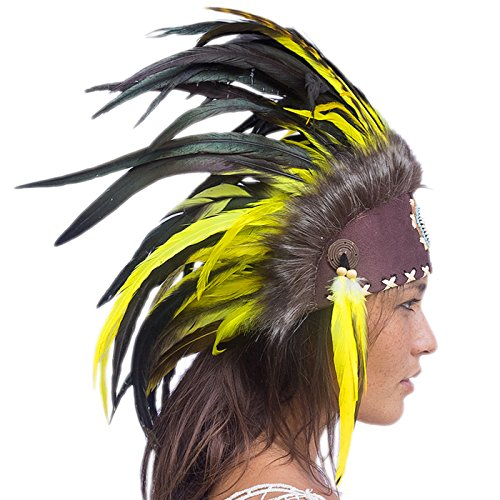 Unique Feather Headdress- Native American Indian Inspired- Handmade by Artisan Halloween Costume for Men Women with Real Feathers - Yellow with (2)