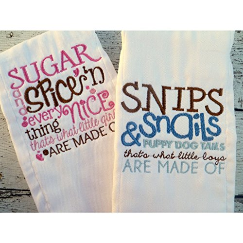 Boys and Girls Burp Cloths Snips and Snails & Sugar and Spice by Jennifer Noel Designs