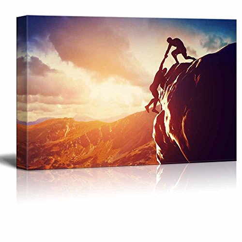 Hikers Climbing on Rock Mountain at Sunset Home Deoration Wall Decor ing
