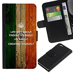 iKiki Tech / Cartera Funda Carcasa - Life Finding Yourself Creating Quote Motivational - Apple iPhone 6 4.7