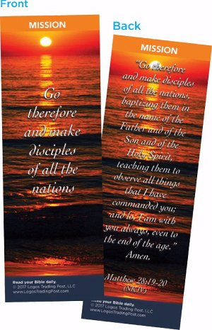 Christian Bookmark with Bible Verse, Pack of 25, Mission Themed, Go Therefore and Make Disciples of All the Nations, Matthew 28:19-20 (Go Therefore And Make Disciples Of All Nations)