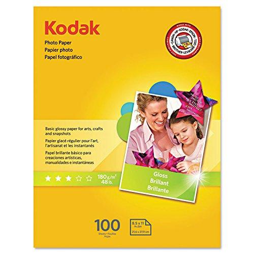 Kodak 8209017 Photo Paper, 6.5 mil, Glossy, 8-1/2 x 11, 100 Sheets/Pack -