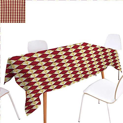 Fleur De Lis Dinner Picnic Table ClothGeometrical Rhombus Arrangement Western Culture Royal Lily Pattern Waterproof Table Cover for Kitchen 70