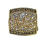 ST. LOUIS RAMS (Kurt Warner) 2000 SUPER BOWL XXXIV WORLD CHAMPIONS (Vs. Titans) Rare & Collectible Replica National Football League Gold NFL Championship Ring with Cherrywood Display Box