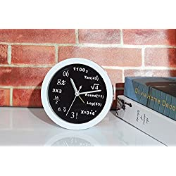 TStoy NEW Creative Math Equation Mute Desk Alarm Clock Home Decoration Black and White Roundness