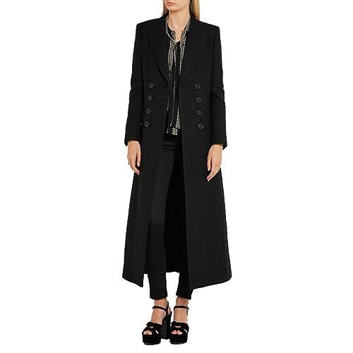 MissFox Mujer Super Largo Abrigos Simple Collar de Traje Abrigo Doble Pecho Trench Parka Negro S-2XL