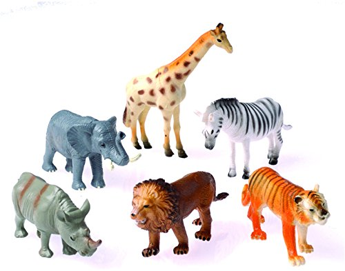 Dozen Plastic Toy Safari Animals