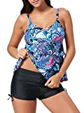 American Trends Women's Two Piece Pin Up Tankini Ruffled Flounce Top Bathing Suits Print Striped Swimwear With Boyshort Blue Print XL (US Size 12-14)