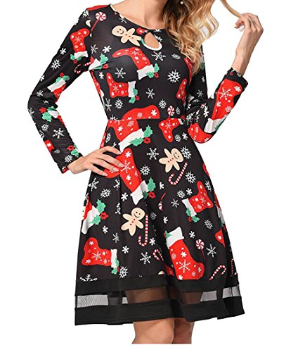Print Swing Women's Jaycargogo Christmas Line Sleeve Dress 13 Mini A Length Knee Long Dress daYgIwgrq