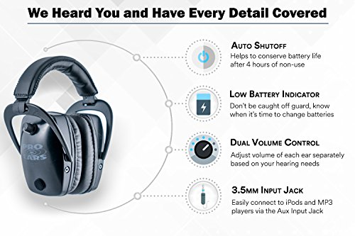 Pro Ears - Pro Tac Slim Gold - Military Grade Hearing Protection and Amplification - NRR 28 - Ear Muffs -  Lithium 123a Batteries - Black by Pro Ears (Image #6)