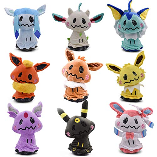 WYMDDYM Pocket Monsters Mimikyu Cosplay Eevee Family Plush Dolls Animal Stuffed Plush Toys (Set of 9pcs) by WYMDDYM