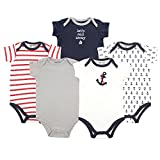 Luvable Friends Baby Infant 5 Pack Bodysuits, Boy Nautical, 12M(9-12 Months)