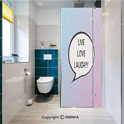 Window Door Sticker Glass Film,Pop Art Comic Book Style Halftone Dots Backdrop Speech Balloon Text Decorative Anti UV Heat Control Privacy Kitchen Curtains for Glass, 17.7 x 47.2 inch,Multicolor