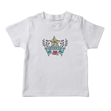 goat deal happy new year banner and bay leaves girls white t shirt small
