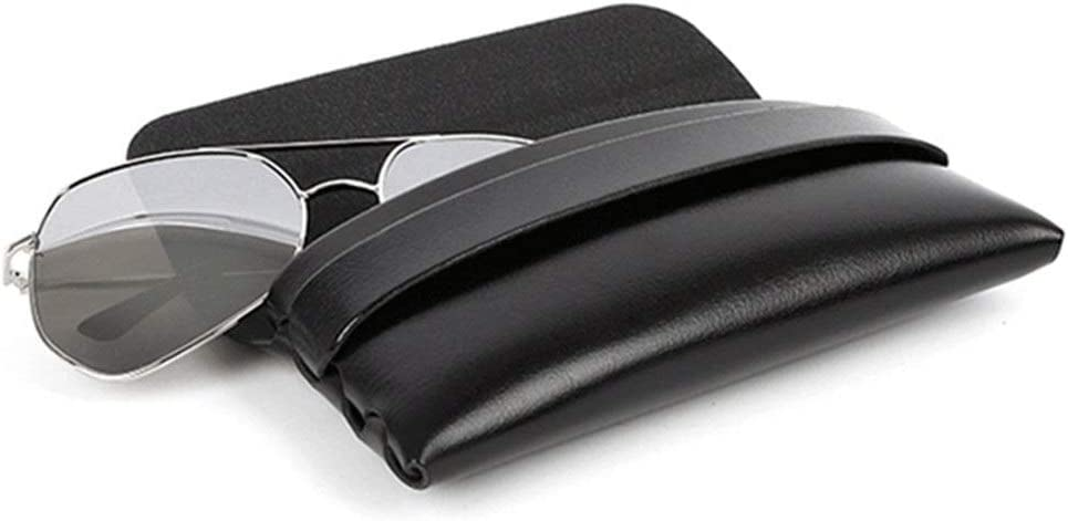 Bolsa de caja de gafas Estuche para gafas de sol de protección que se ajusta a la mayoría de las gafas de tamaño estándar y gafas de sol de cuero negro de