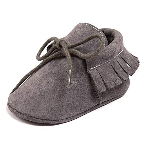 R&V Unisex Infant Baby Boys' Girls' Moccasins Soft Sole Tassels Prewalker Anti-Slip Toddler Shoes (L:12~18 Months, Bandage Dark Grey)