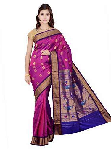 Indian Silks Peacock Design Paithani Handloom Pure Silk Saree, With Unstitched Blouse Piece (Violet_Pink)