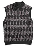Greg Norman Men's Argyle Diamond 1/4 Zip Mockneck Sweater Vest, Grey (2X-Large)